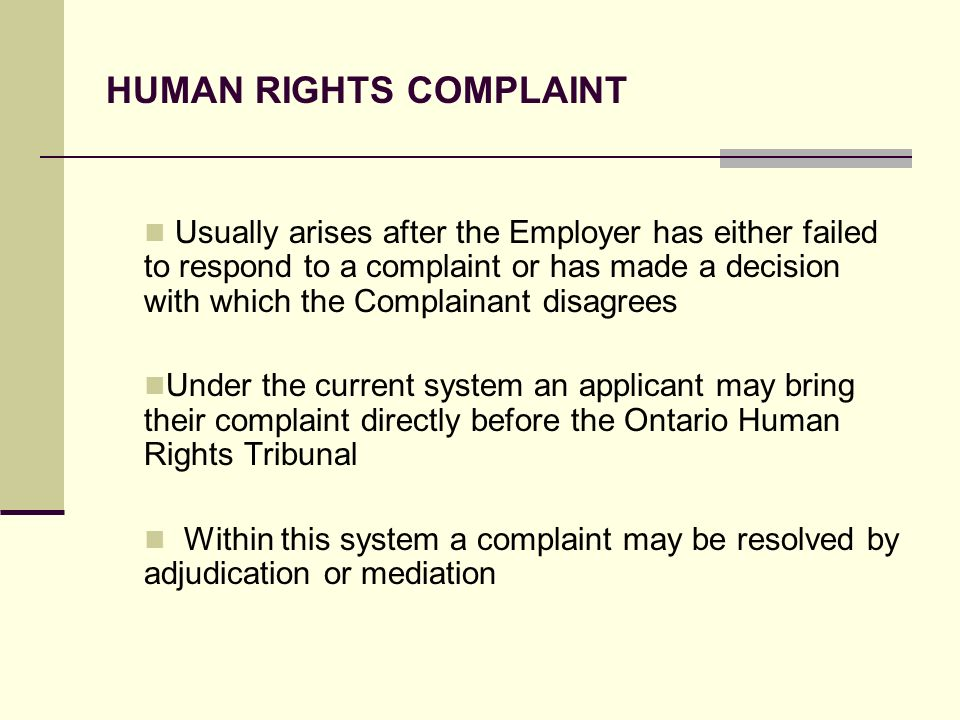 HUMAN RIGHTS COMPLAINT