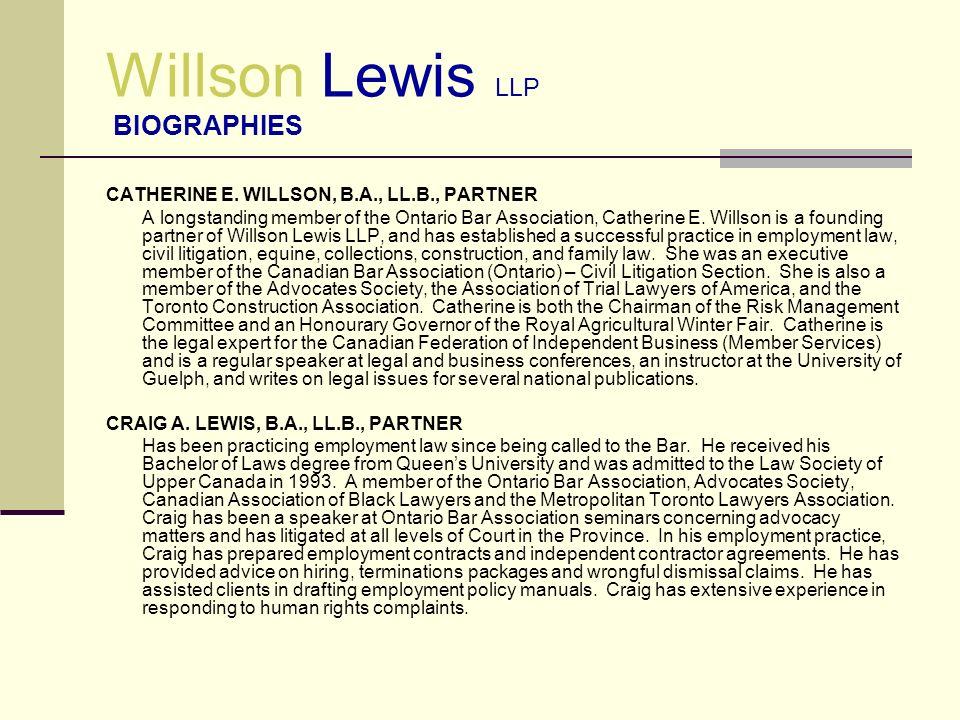 Willson Lewis LLP BIOGRAPHIES