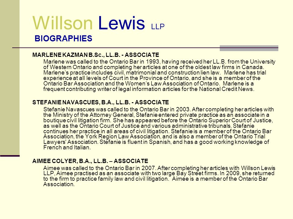 Willson Lewis LLP BIOGRAPHIES