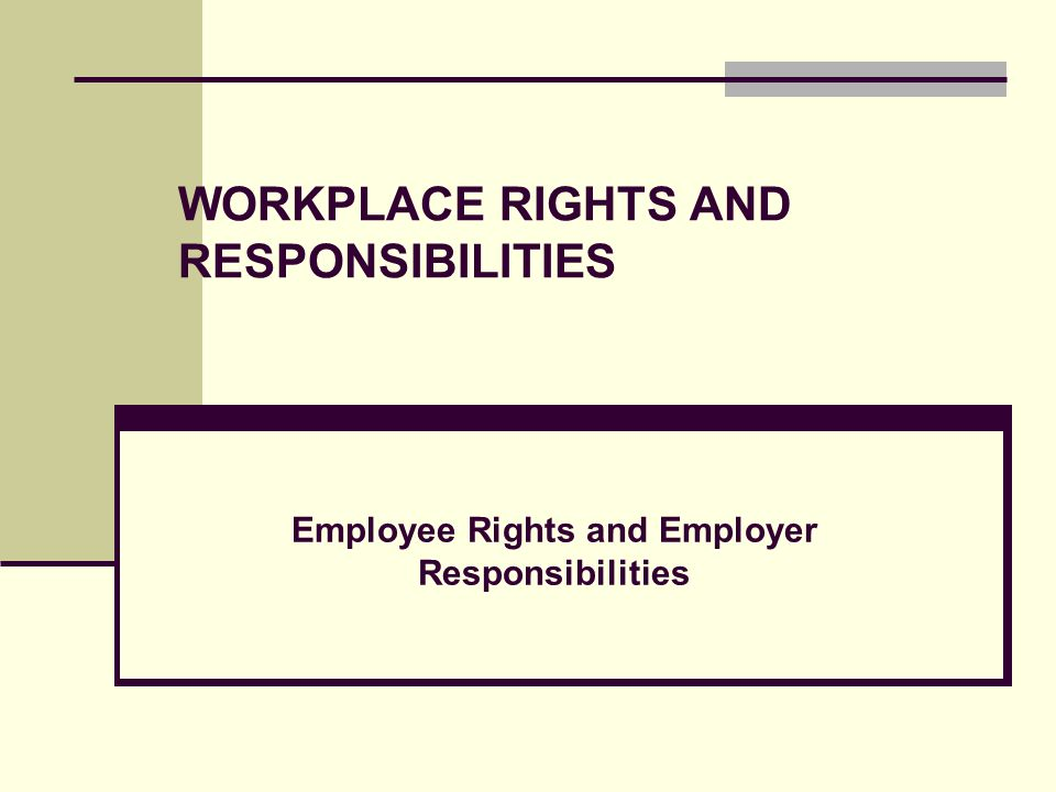 WORKPLACE RIGHTS AND RESPONSIBILITIES
