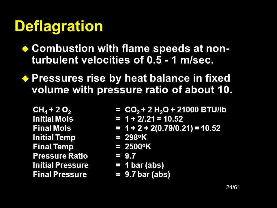 Deflagration Combustion with flame speeds at non-turbulent velocities of 0.5 - 1 m/sec.