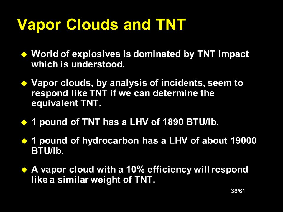 Vapor Clouds and TNT World of explosives is dominated by TNT impact which is understood.