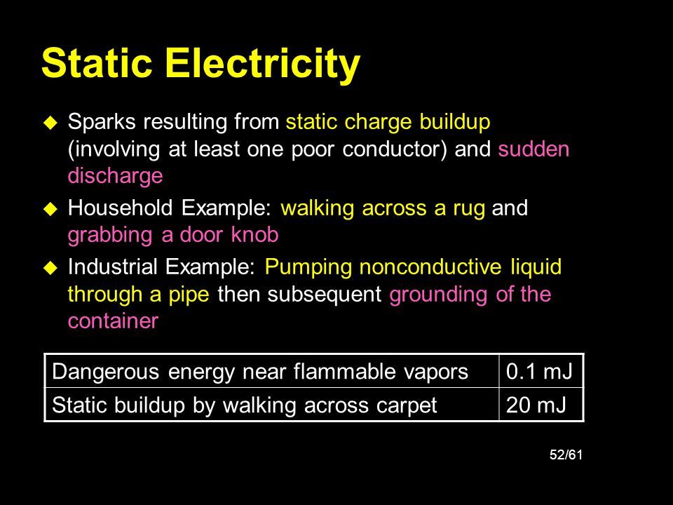 Static Electricity Sparks resulting from static charge buildup (involving at least one poor conductor) and sudden discharge.