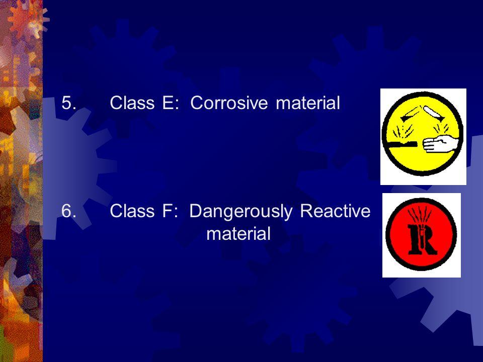 5. Class E: Corrosive material