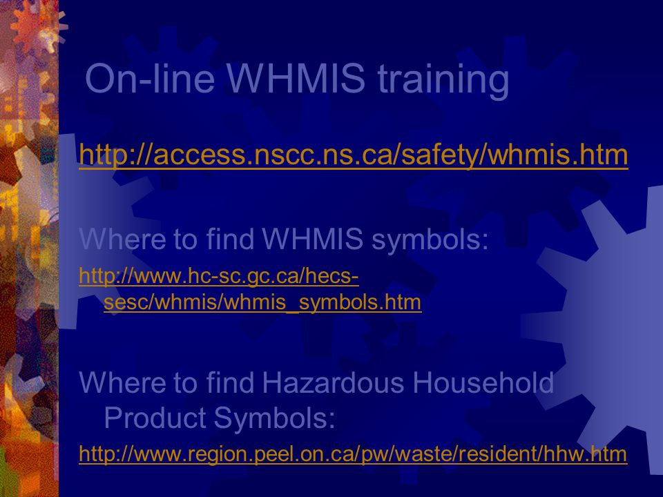 On-line WHMIS training