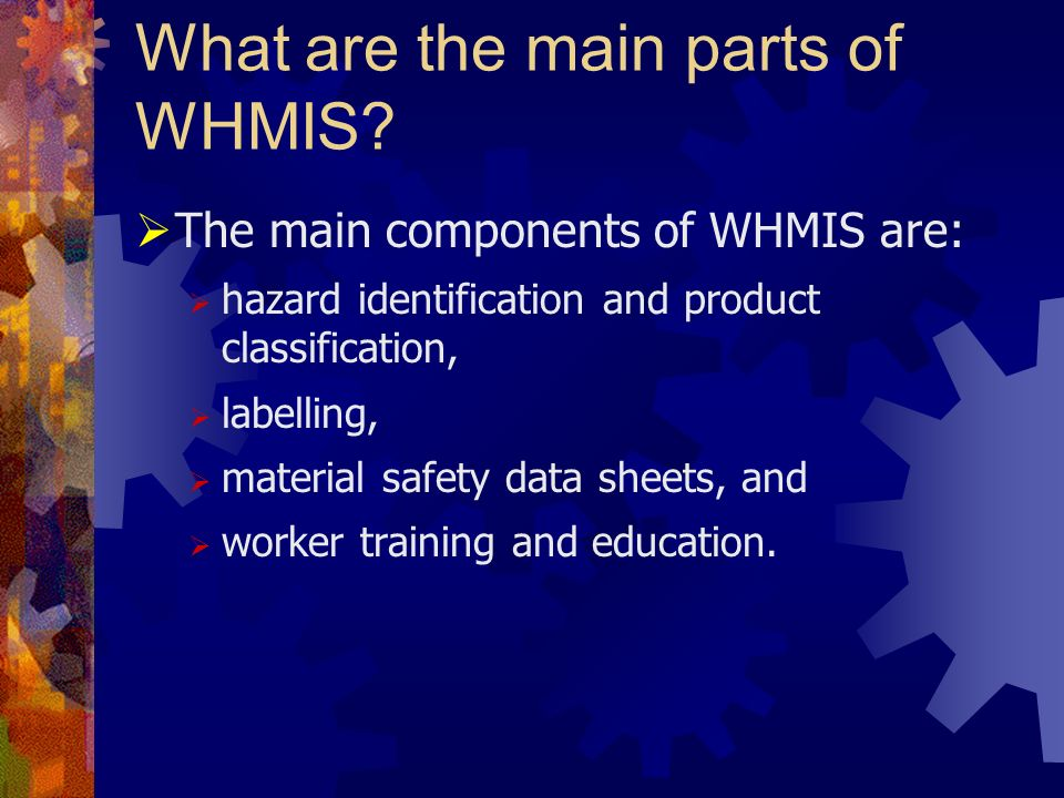What are the main parts of WHMIS