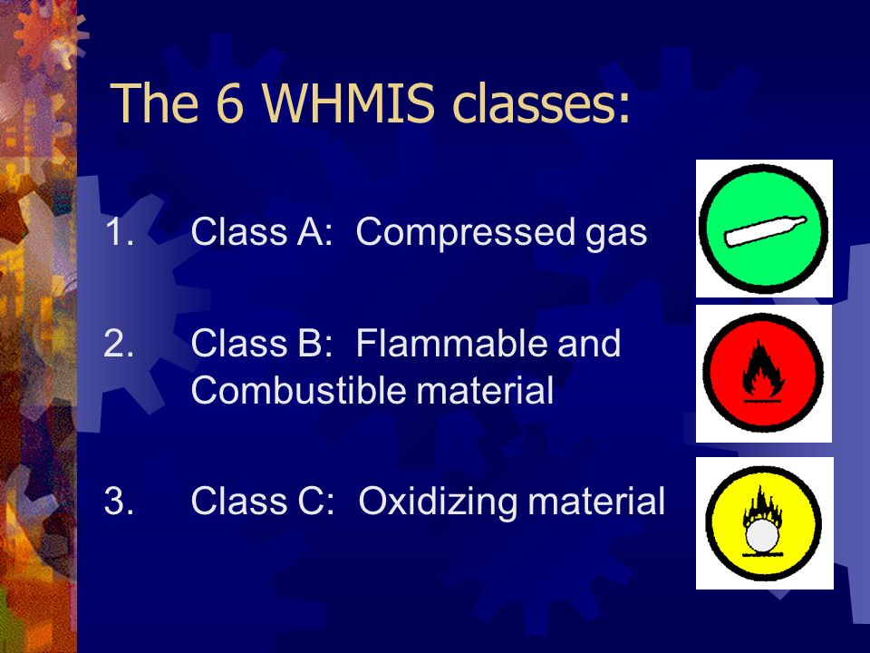 The 6 WHMIS classes: 1. Class A: Compressed gas