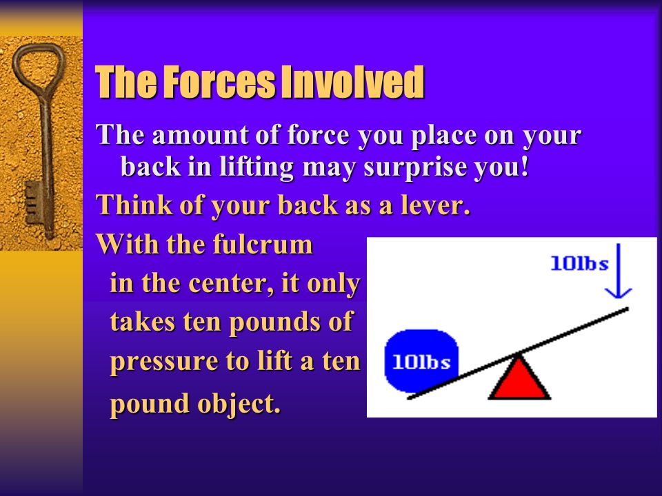 * 07/16/96. The Forces Involved. The amount of force you place on your back in lifting may surprise you!