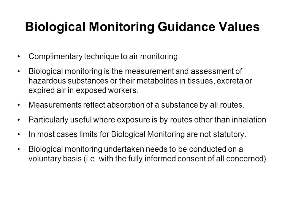 Biological Monitoring Guidance Values