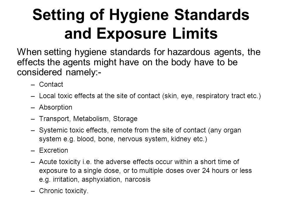 Setting of Hygiene Standards and Exposure Limits