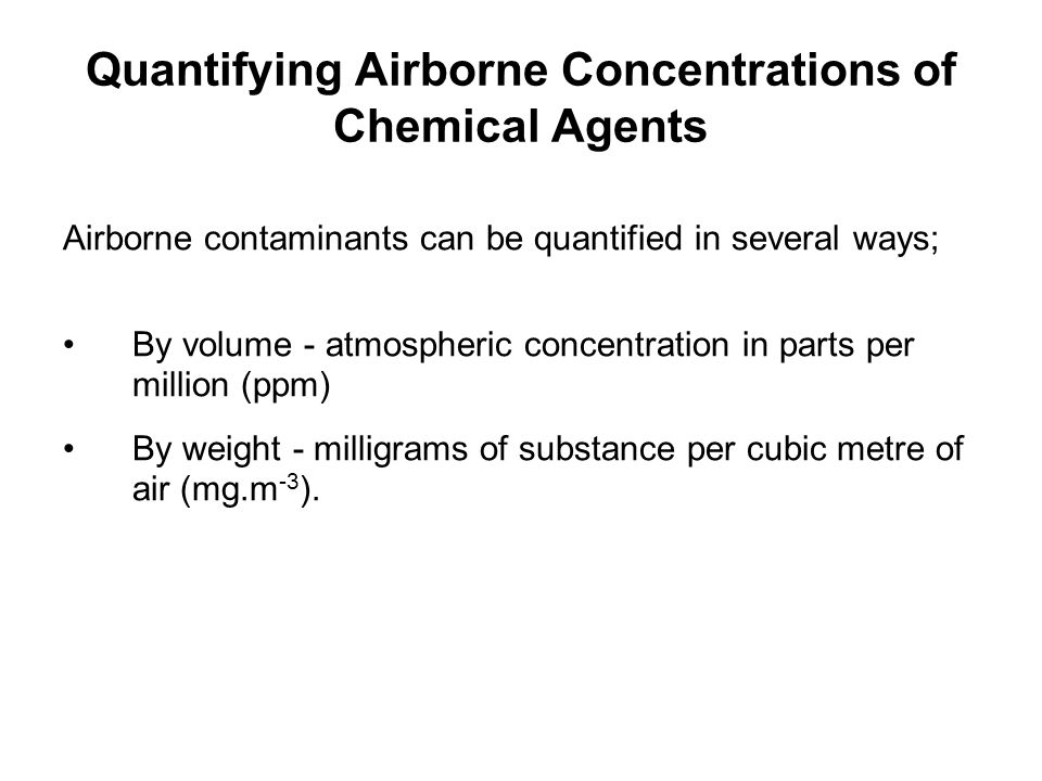 Quantifying Airborne Concentrations of Chemical Agents