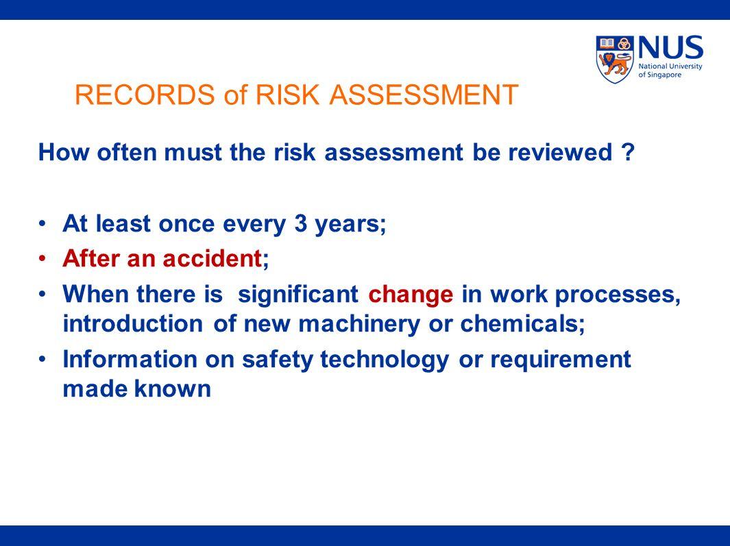 RECORDS of RISK ASSESSMENT