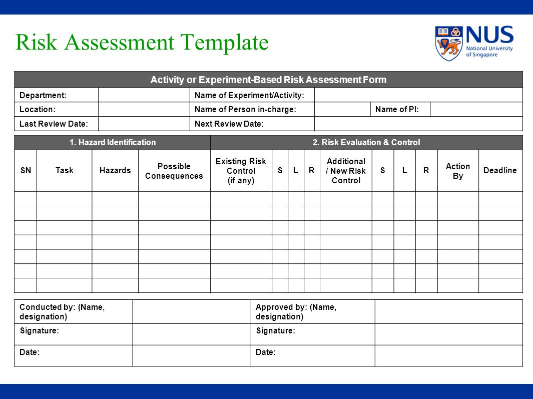 Risk assessment training ppt video online download for Hazard risk register template
