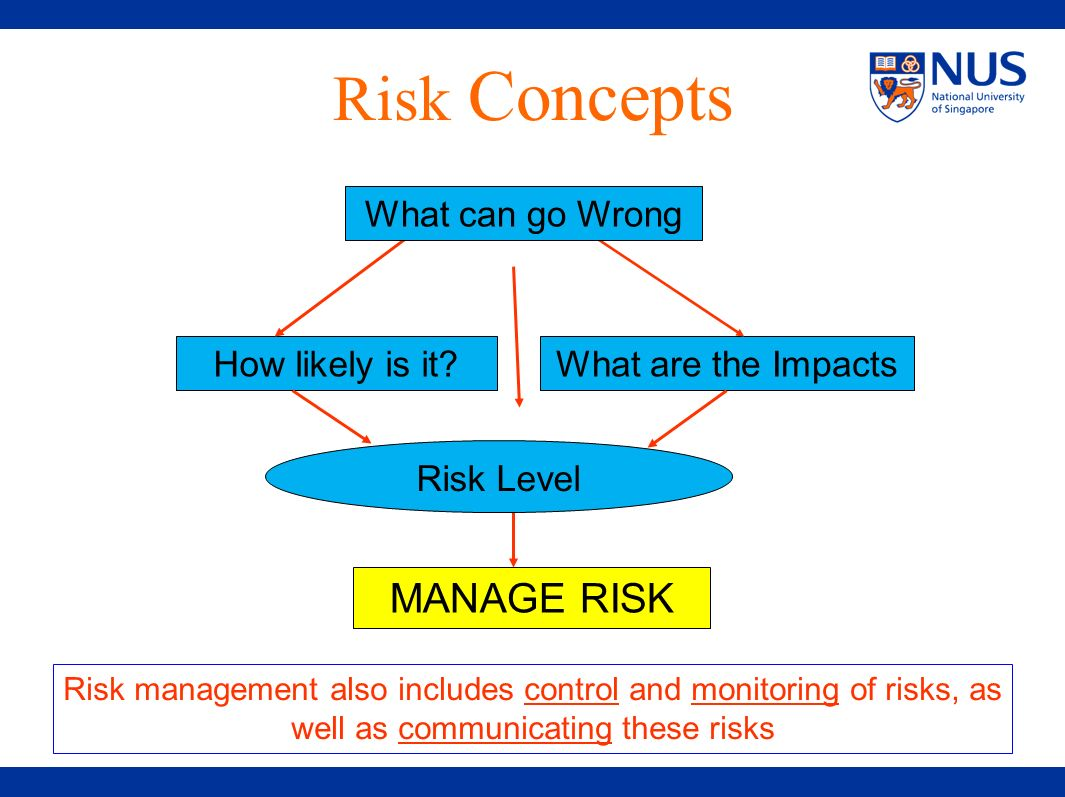 Risk Concepts MANAGE RISK What can go Wrong How likely is it