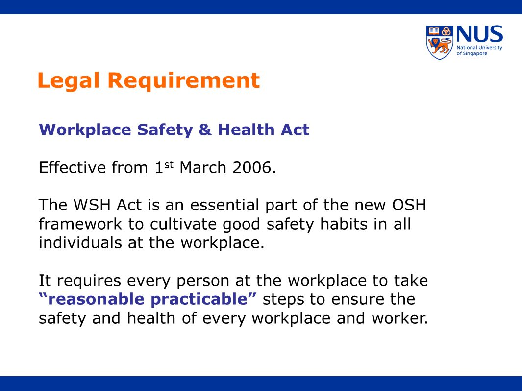 Legal Requirement Workplace Safety & Health Act