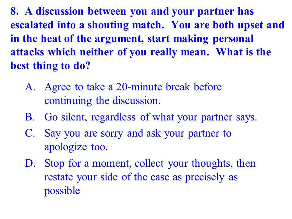 Agree to take a 20-minute break before continuing the discussion.