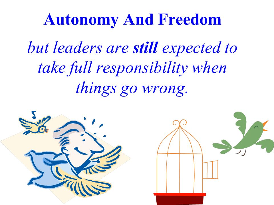 Autonomy And Freedom but leaders are still expected to take full responsibility when things go wrong.