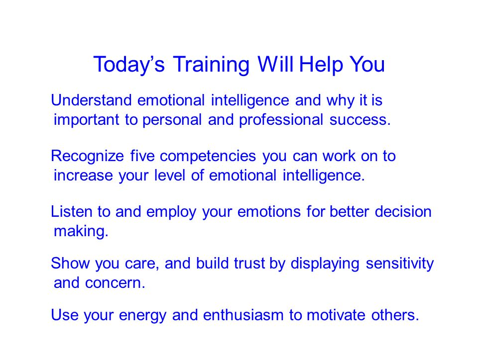 Today's Training Will Help You