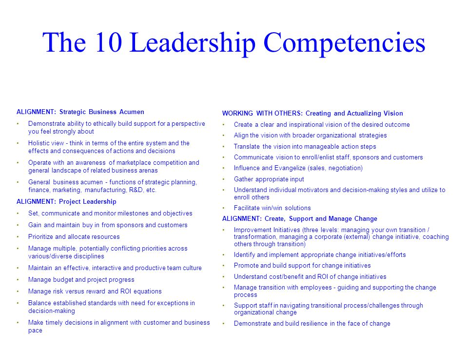 The 10 Leadership Competencies