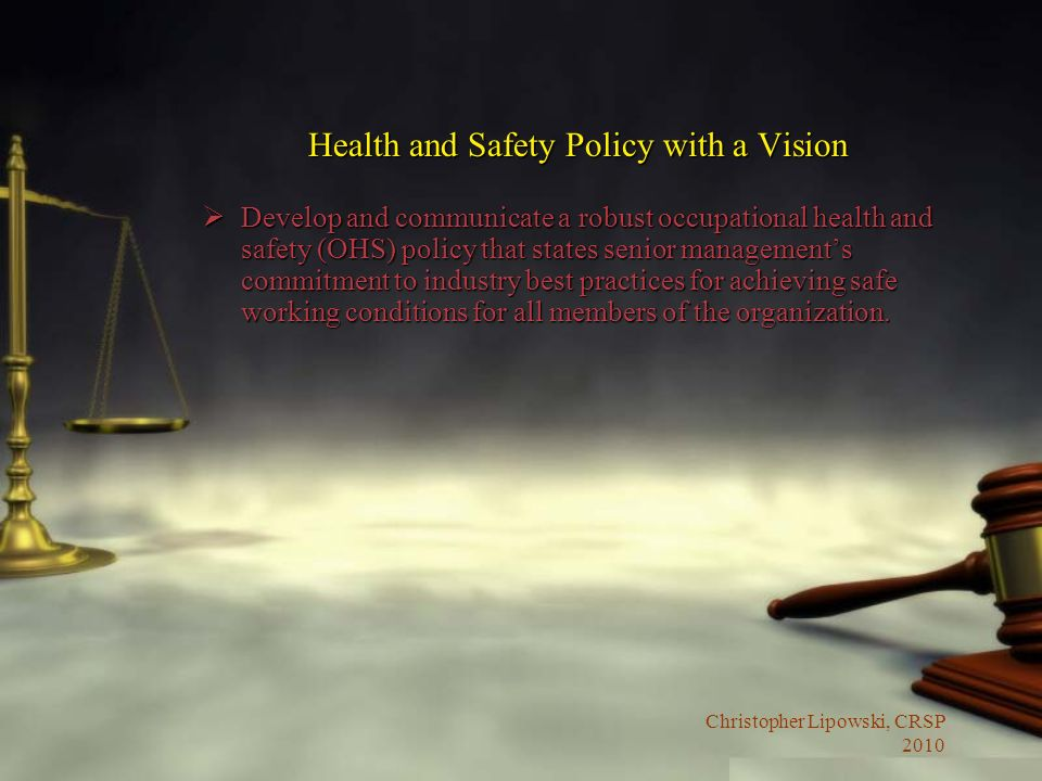 Health and Safety Policy with a Vision