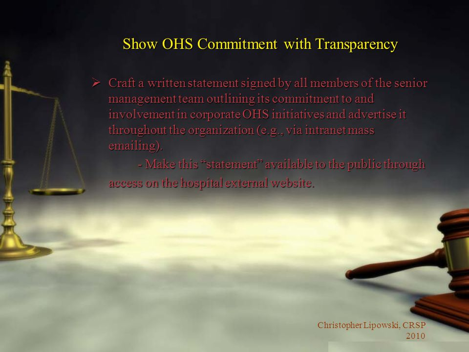 Show OHS Commitment with Transparency