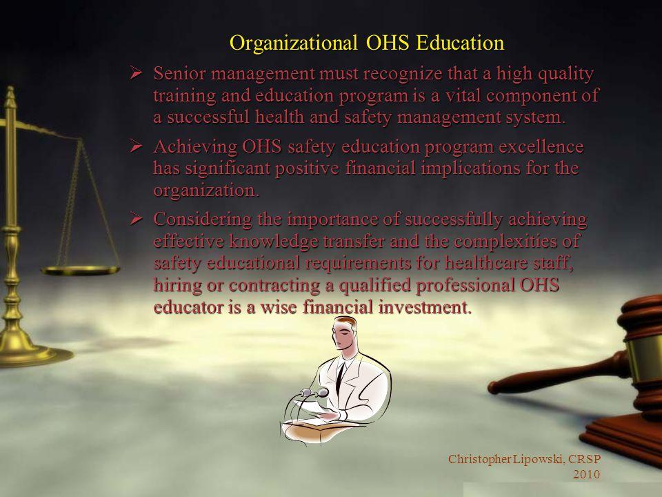 Organizational OHS Education
