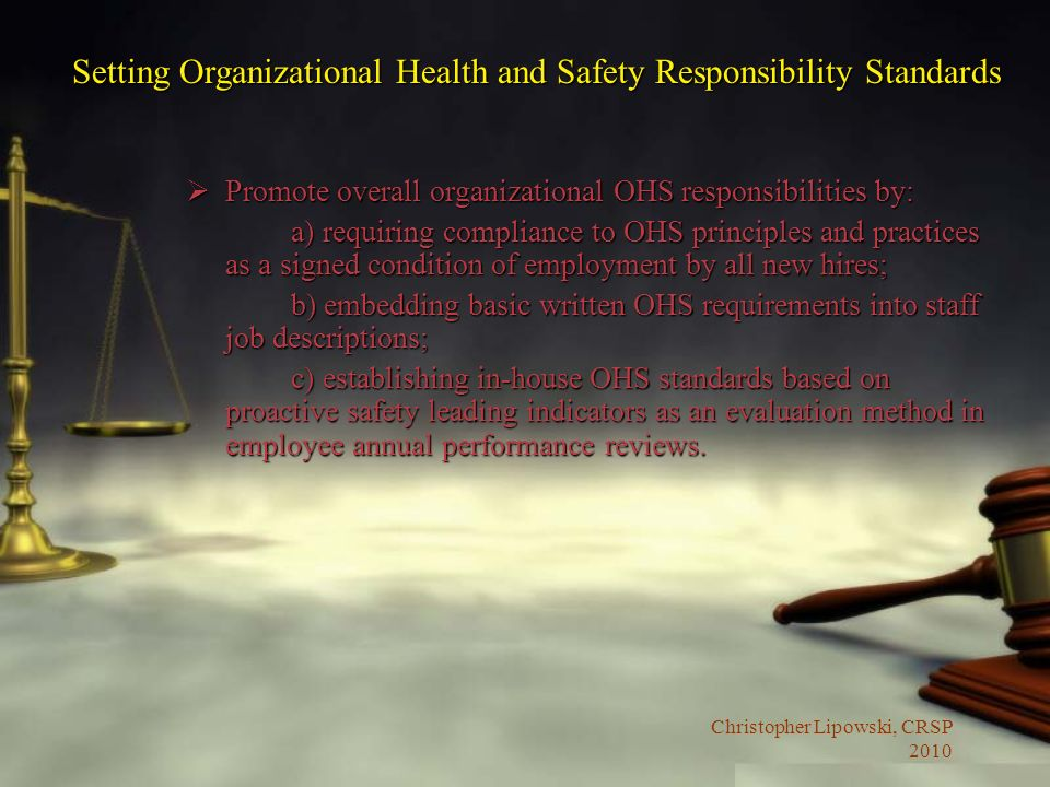 Setting Organizational Health and Safety Responsibility Standards