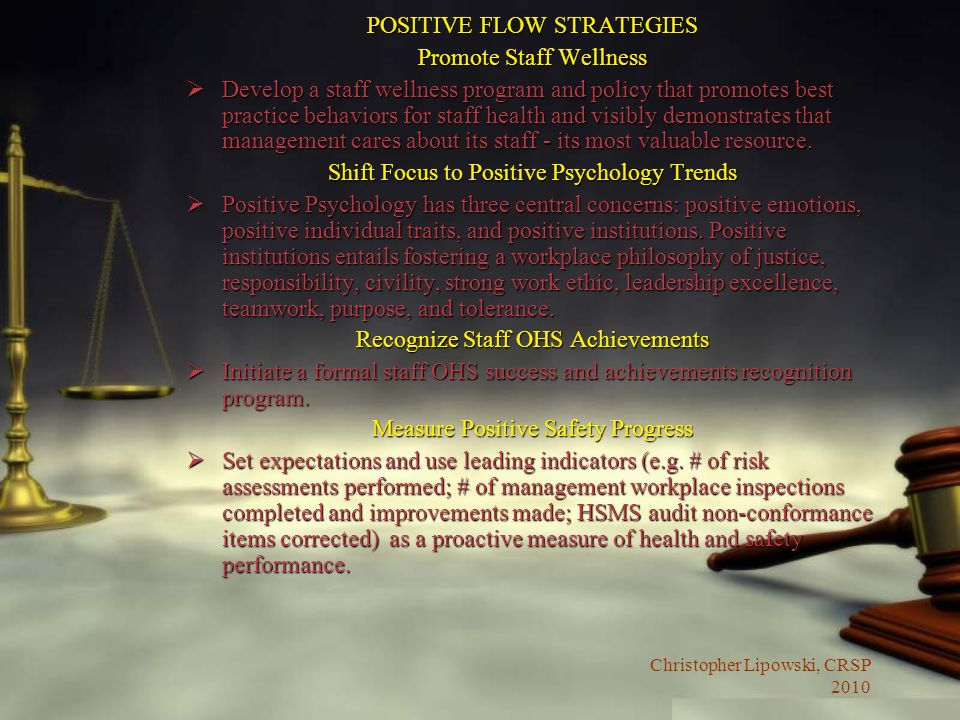 POSITIVE FLOW STRATEGIES Promote Staff Wellness