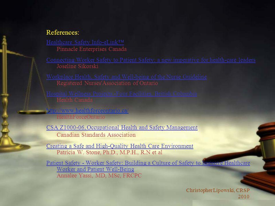 References: Healthcare Safety Info-eLink™ Pinnacle Enterprises Canada