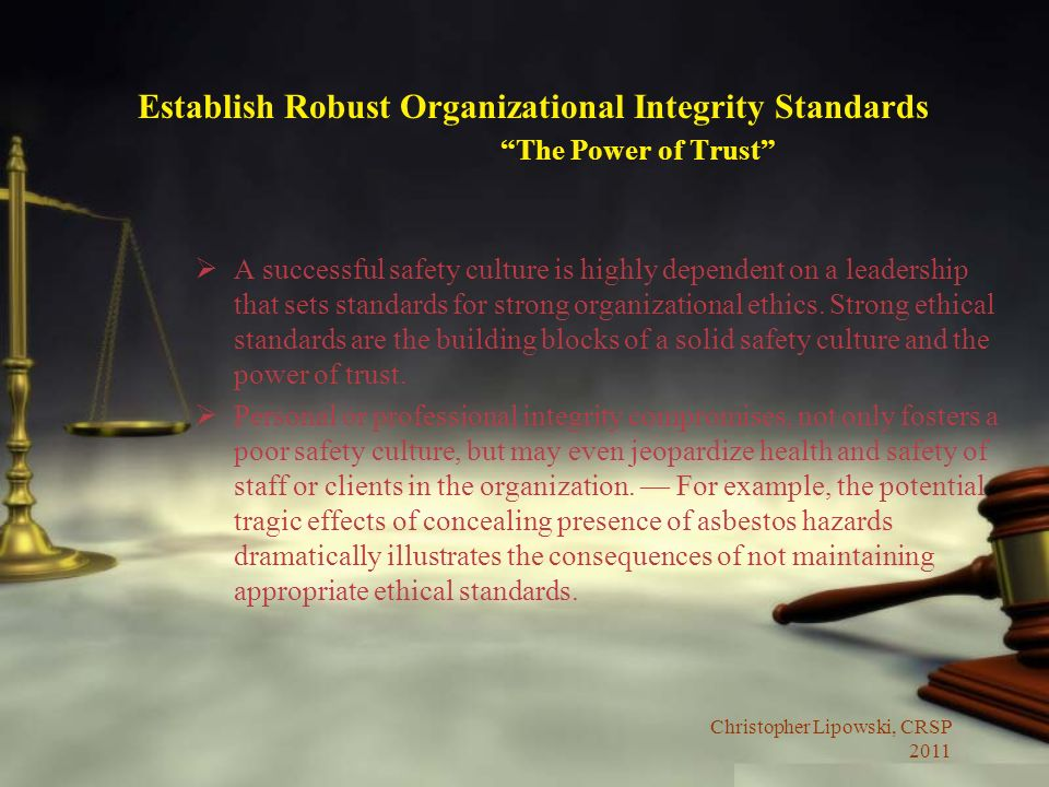 Establish Robust Organizational Integrity Standards