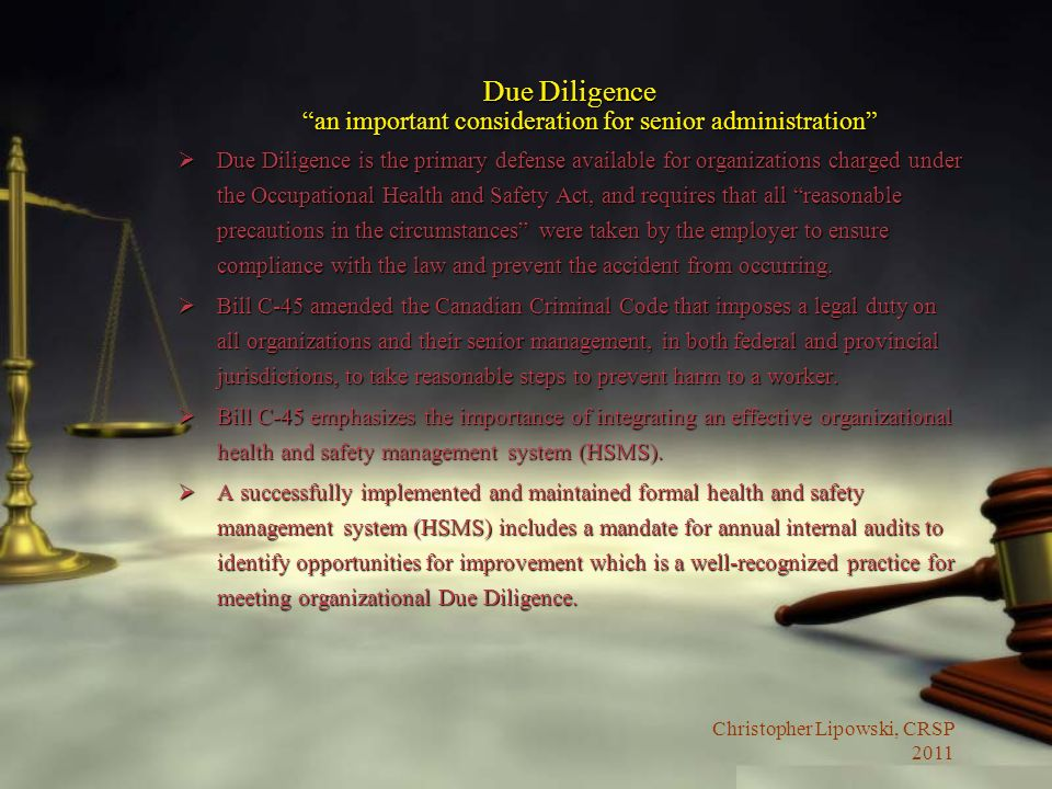 Due Diligence an important consideration for senior administration