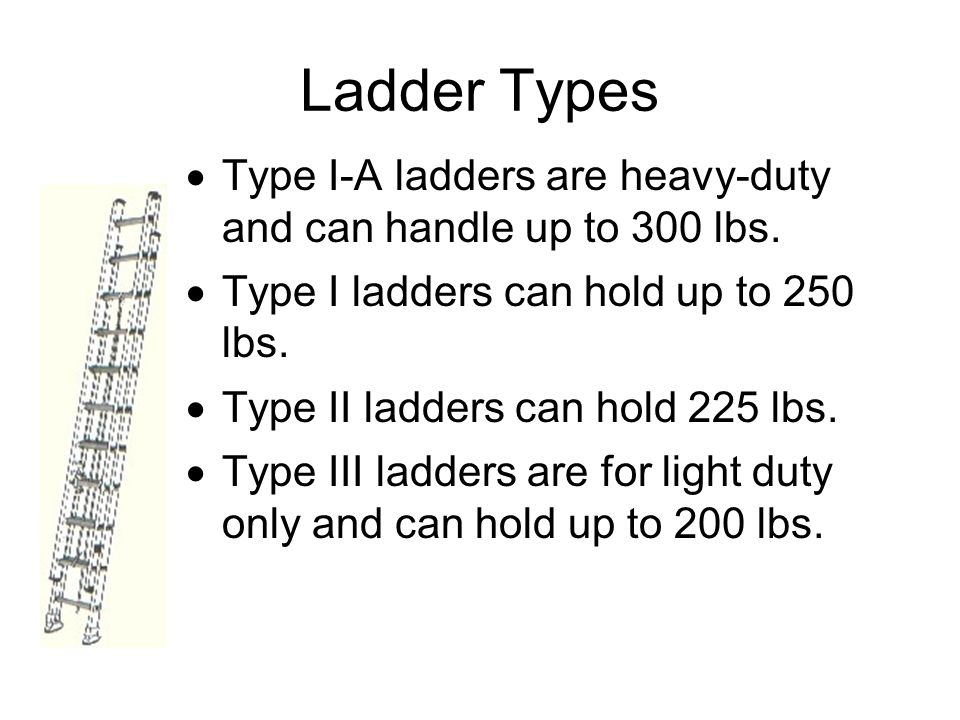 Ladder Types Type I-A ladders are heavy-duty and can handle up to 300 lbs. Type I ladders can hold up to 250 lbs.