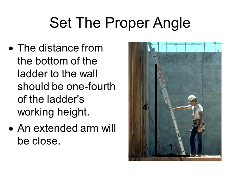 Set The Proper Angle The distance from the bottom of the ladder to the wall should be one-fourth of the ladder s working height.