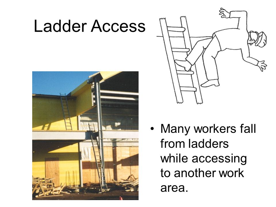 Ladder Access Many workers fall from ladders while accessing to another work area.