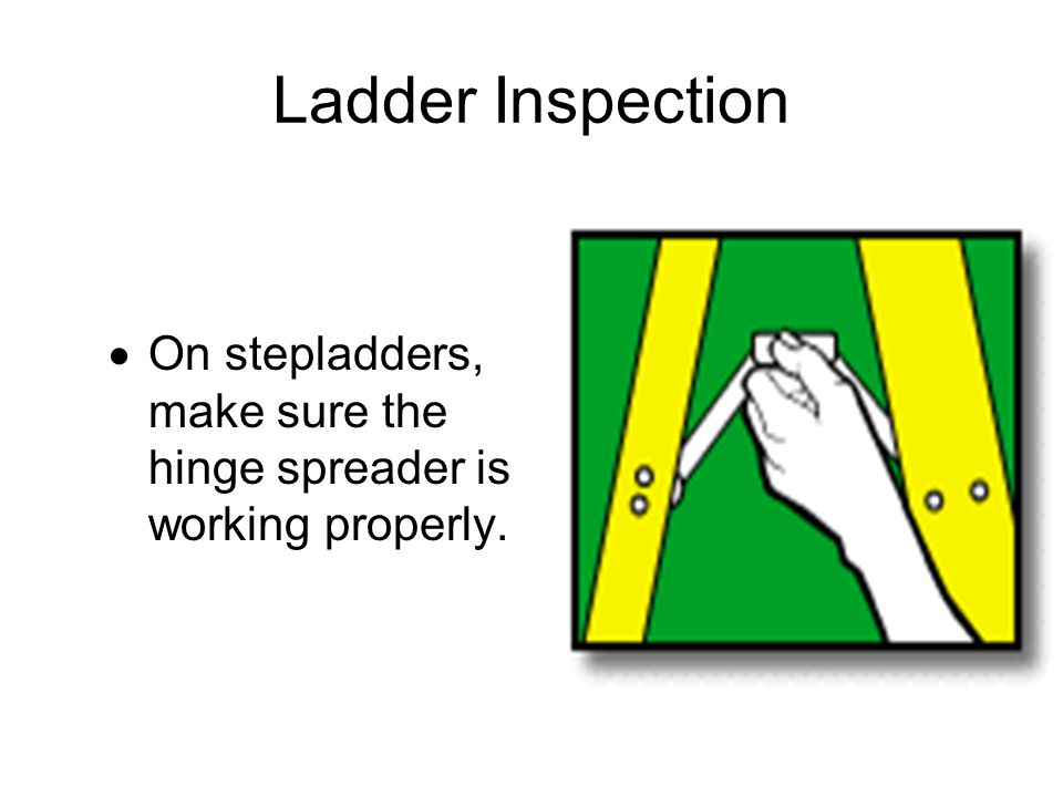 Ladder Inspection On stepladders, make sure the hinge spreader is working properly.