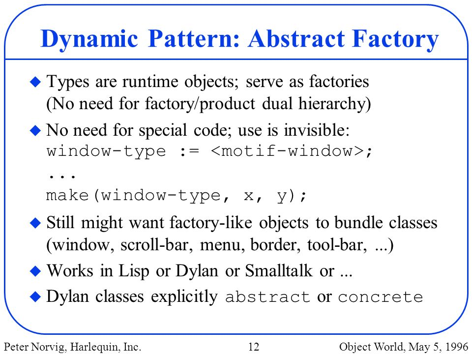 Dynamic Pattern: Abstract Factory