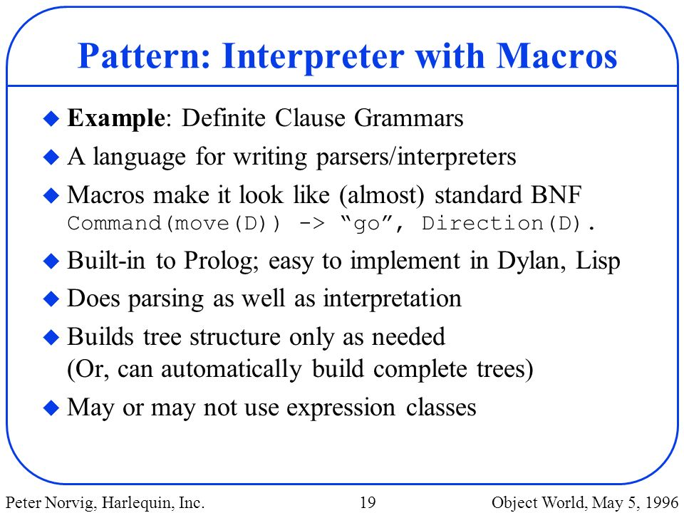 Pattern: Interpreter with Macros