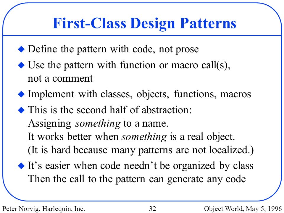 First-Class Design Patterns