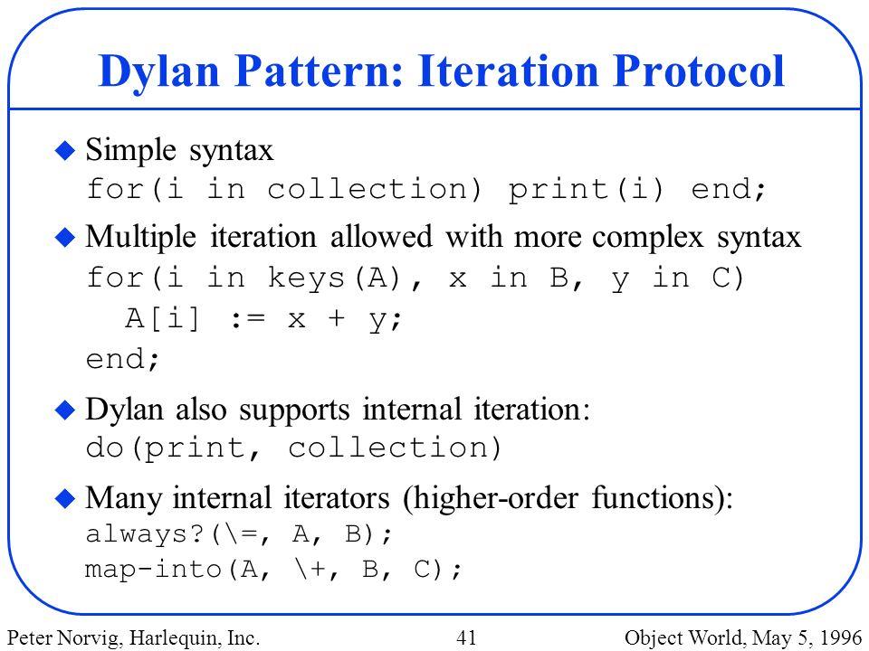 Dylan Pattern: Iteration Protocol