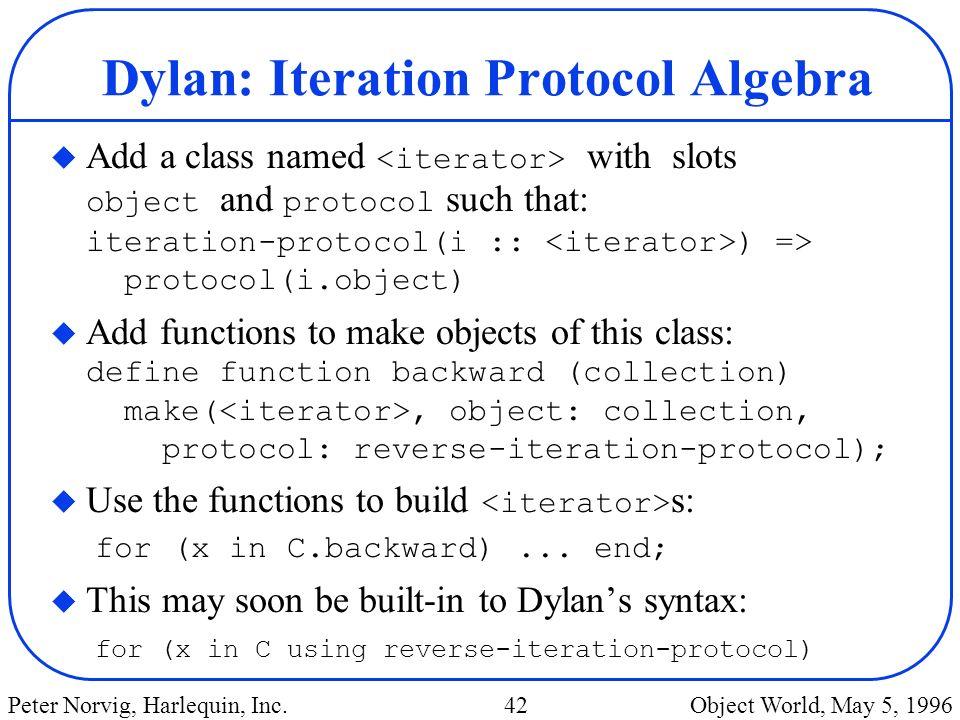 Dylan: Iteration Protocol Algebra