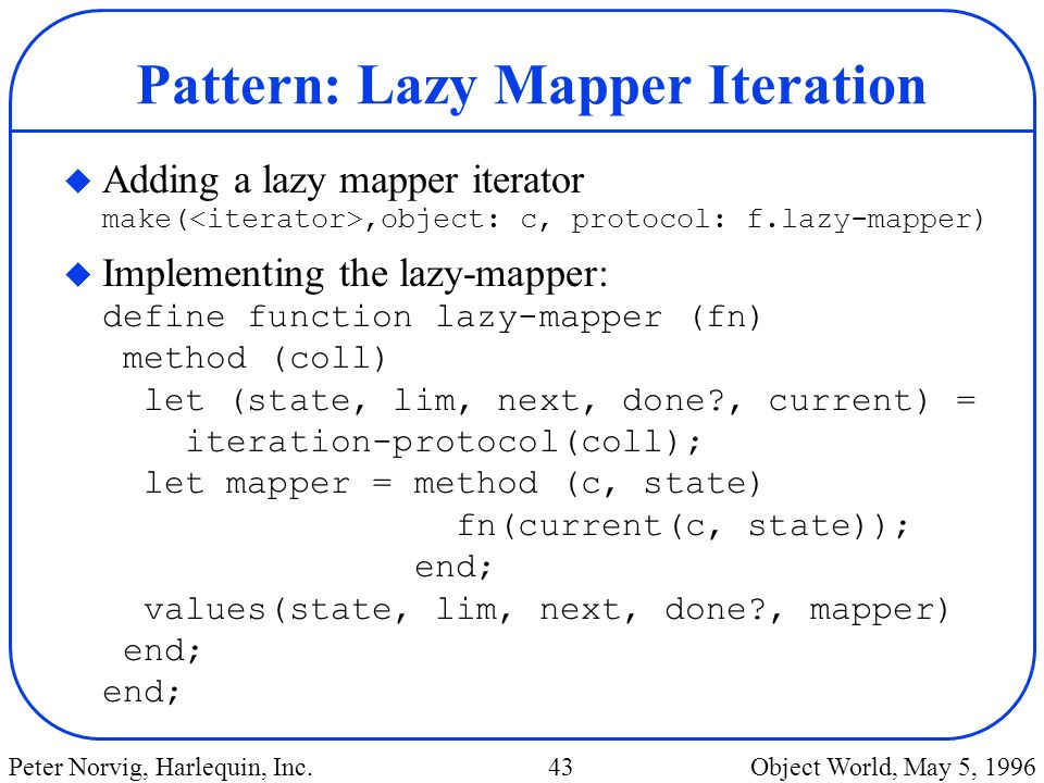 Pattern: Lazy Mapper Iteration