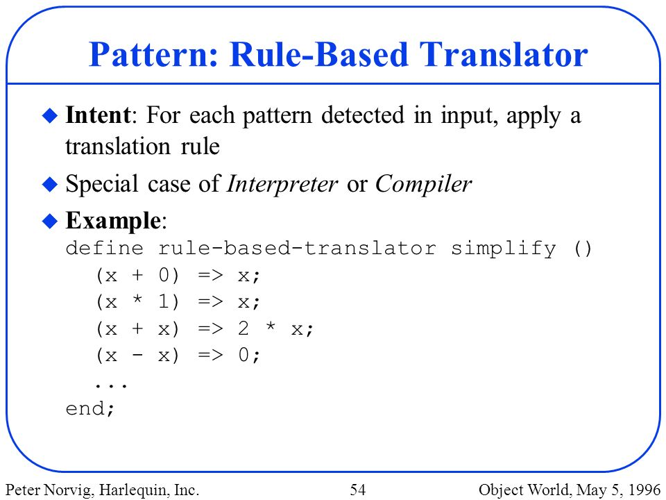 Pattern: Rule-Based Translator