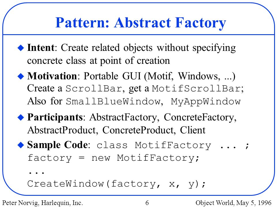 Pattern: Abstract Factory