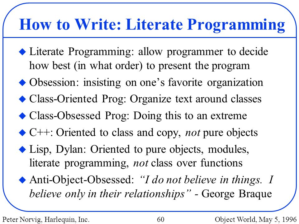 How to Write: Literate Programming