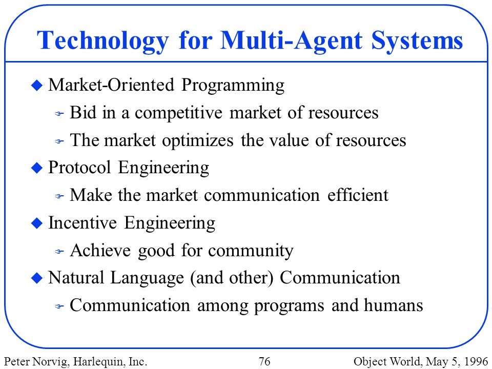Technology for Multi-Agent Systems