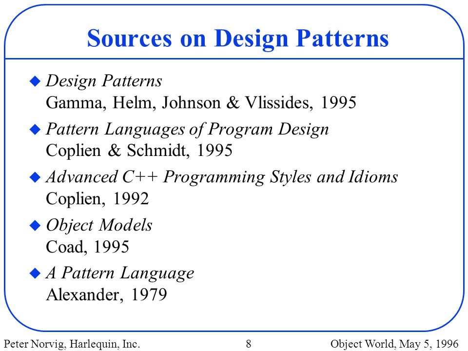 Sources on Design Patterns