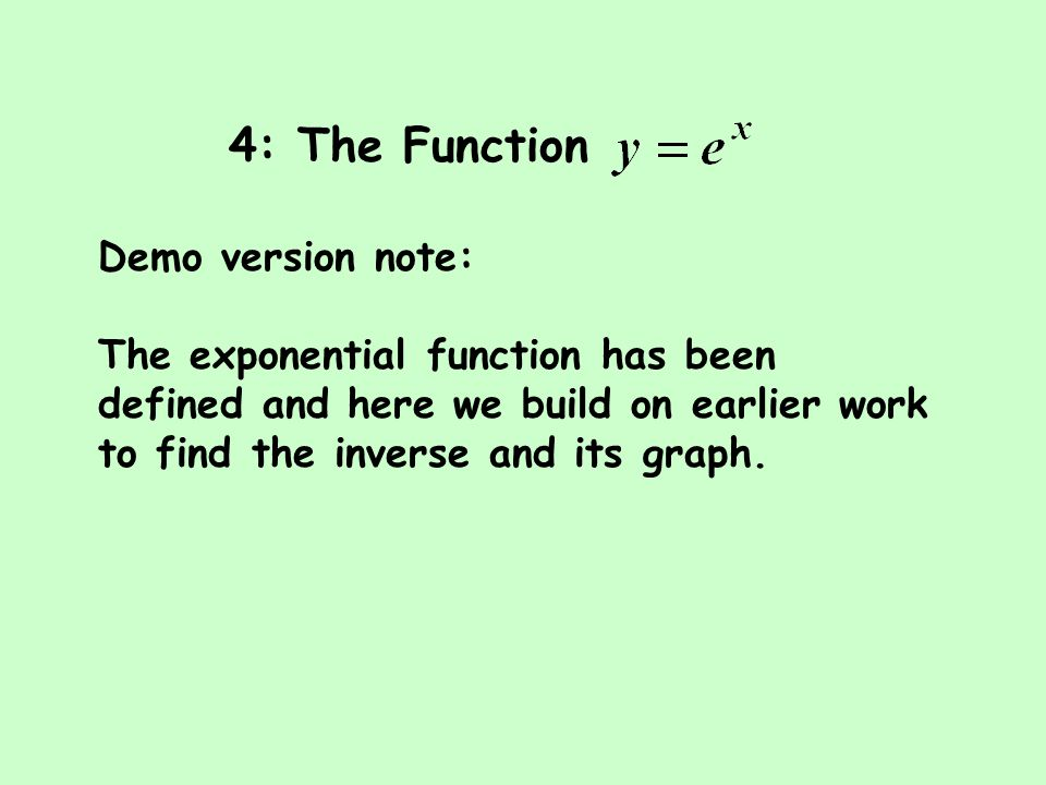 4: The Function Demo version note: