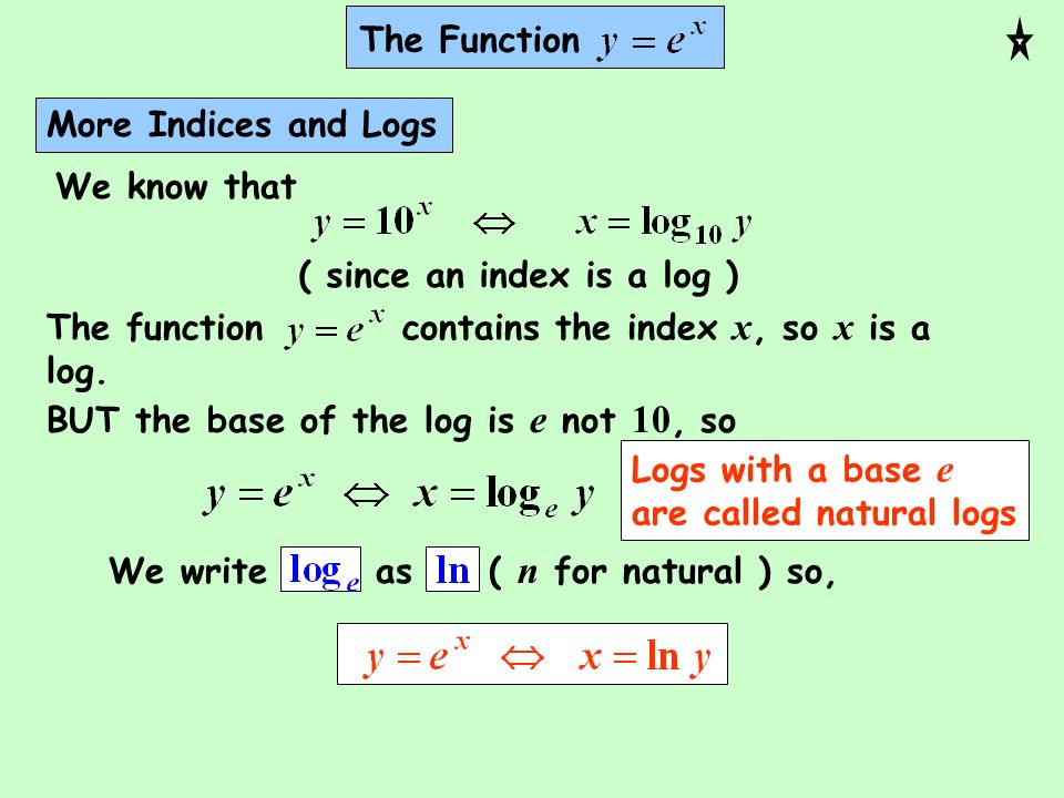 The FunctionMore Indices and Logs. We know that. ( since an index is a log ) The function contains the index x, so x is a log.