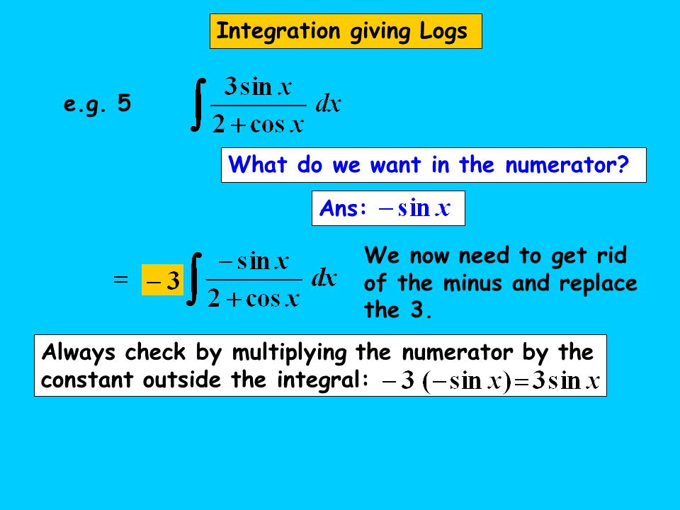Integration giving Logs