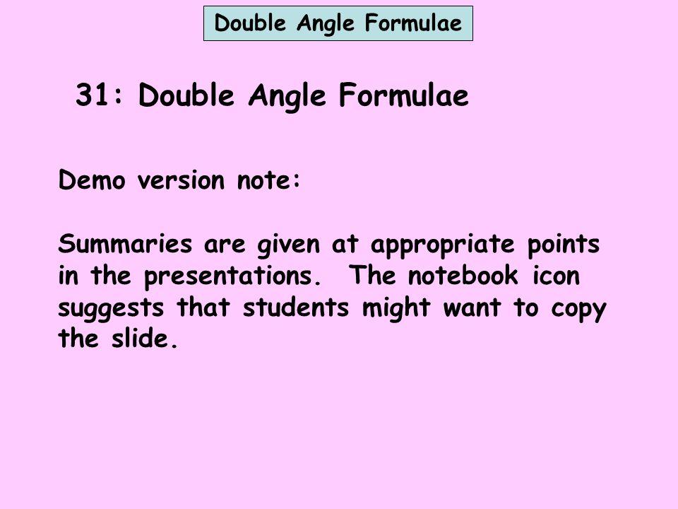 31: Double Angle Formulae